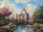 thomas kinkade a new day at the cinderella s castle painting