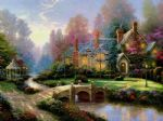 thomas kinkade beyond spring gate oil painting