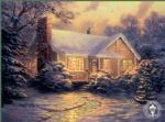 christmas cottage by thomas kinkade painting