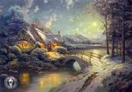 thomas kinkade christmas moonlight paintings