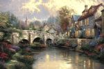 thomas kinkade cobblestone brooke painting