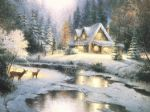 thomas kinkade deer creek cottage painting-78418