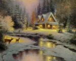 thomas kinkade deer creek cottage i painting-78419