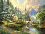dog oil paintings - dogwood chapel by thomas kinkade painting