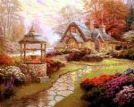 thomas kinkade make a wish cottage 2 oil painting