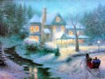 thomas kinkade moonlit sleigh ride paintings
