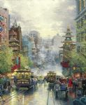 thomas kinkade san francisco a view down california street from nob hill oil painting