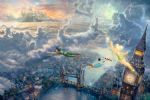 tinker bell and peter pan fly to neverland by thomas kinkade painting