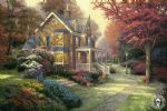 thomas kinkade victorian autumn paintings