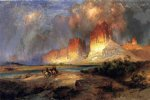 cliffs of the upper colorado river by thomas moran painting