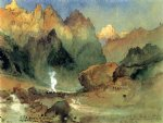 thomas moran in the lava beds painting