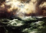 moonlit seascape by thomas moran painting