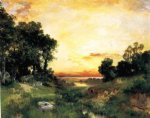 thomas moran sunset long island sound oil painting