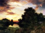 thomas moran sunset on long island oil painting