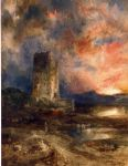 sunset on the moor by thomas moran painting