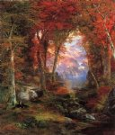 the autumnal woods by thomas moran painting