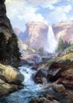 waterfall in yosemite by thomas moran painting