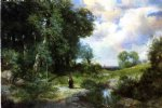 thomas moran young girl in a long island landscape painting 24467