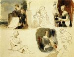 thomas sully sheet of figure studies oil painting