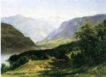 travelers in the swiss alps by thomas worthington whittredge painting