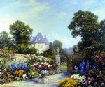 tom mostyn paintings - a parisian garden by tom mostyn