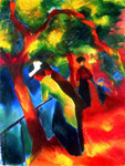 macke allee ensoleillee 1913 by unknown artist painting