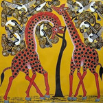 african giraffe by unknown artist painting