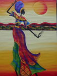 african women dancing headscarfed painting