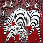african zebra family by unknown artist painting