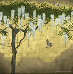 custom wisteria with house finch painting