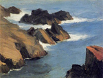 edward hopper rocky sea shore art