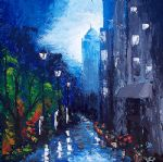 blue rain by unknown artist painting