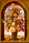 unknown artist bosschaert flower vase in a window niche painting 77712