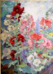 campbell hollyhocks by unknown artist painting