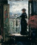 lady on a balcony by albert edelfelt by unknown artist painting