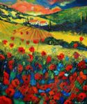 poppies in tuscany by unknown artist painting