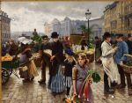 poul fischer hojbroplads in april by unknown artist painting