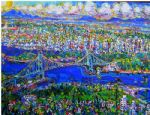 vancouver island lions gate bridge by unknown artist painting