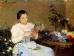victor gabriel gilbert arranging flowers for a spring bouquet painting 76991