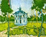 vincent van gogh auvers town hall in 14 july 1890 painting