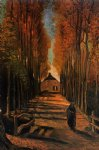 vincent van gogh avenue of poplars at sunset painting