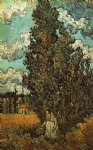 vincent van gogh cypresses and two women painting-23413