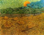 vincent van gogh evening landscape with rising moon oil painting