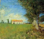 vincent van gogh farmhouse in a wheat field painting
