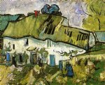 vincent van gogh farmhouse with two figures oil painting