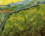 vincent van gogh field of spring wheat at sunrise painting-23448