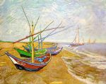 boat paintings - fishing boats on the beach by vincent van gogh