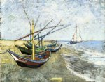 vincent van gogh fishing boats on the beach at les saintes painting