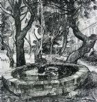 vincent van gogh fountain in the garden of saint painting