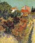 garden behind a house by vincent van gogh painting